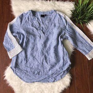 Rafaella Linen Stripe Blue White V Neck  Shirt